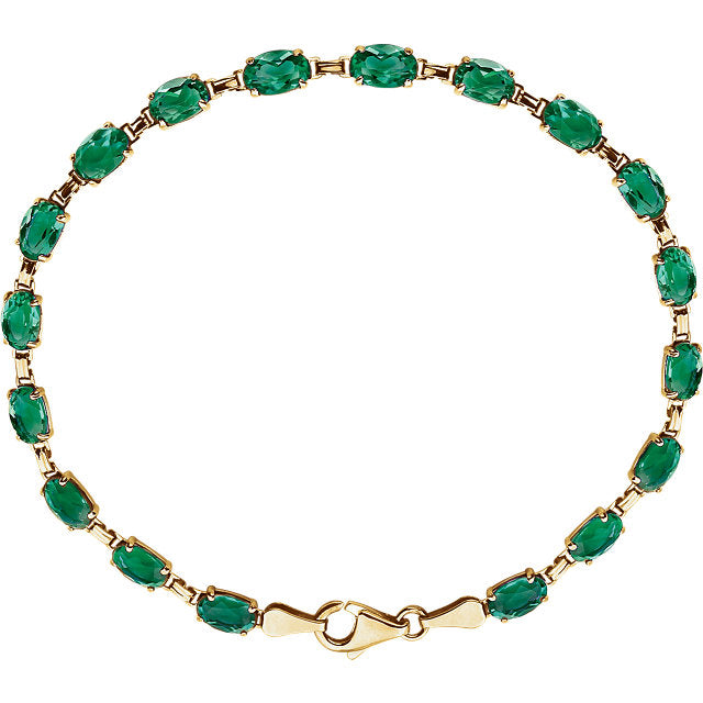 14KT Yellow Gold Emerald Link Bracelet, 14KT Yellow Gold Emerald Link Bracelet - Legacy Saint Jewelry