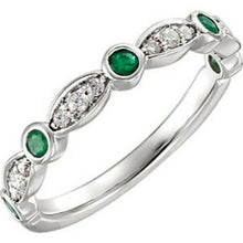 Load image into Gallery viewer, 14KT White Gold Pave Diamond + Emerald Band Ring, 14KT White Gold Pave Diamond + Emerald Band Ring - Legacy Saint Jewelry