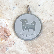 Load image into Gallery viewer, Sterling Silver Shih Tzu Pendant Charm Satin Disc, Sterling Silver Shih Tzu Pendant Charm Satin Disc - Legacy Saint Jewelry