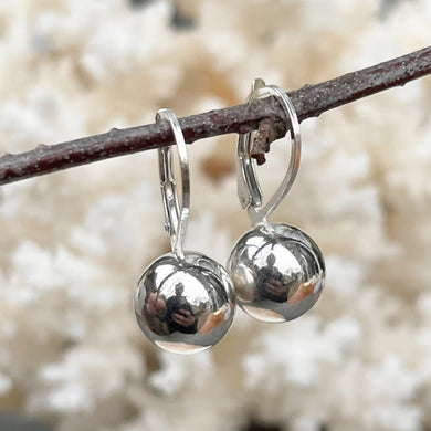 Sterling Silver Polished 10mm Round Ball Lever Back Earrings