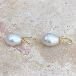 14KT Yellow Gold Paspaley South Sea Pearl Shepard Hook Earring, 14KT Yellow Gold Paspaley South Sea Pearl Shepard Hook Earring - Legacy Saint Jewelry