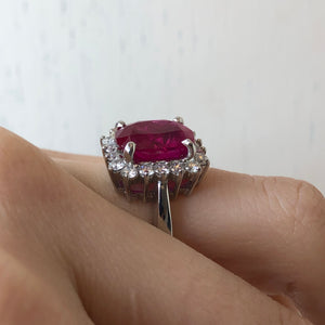 14KT White Gold Ruby + Diamond Ring, 14KT White Gold Ruby + Diamond Ring - Legacy Saint Jewelry