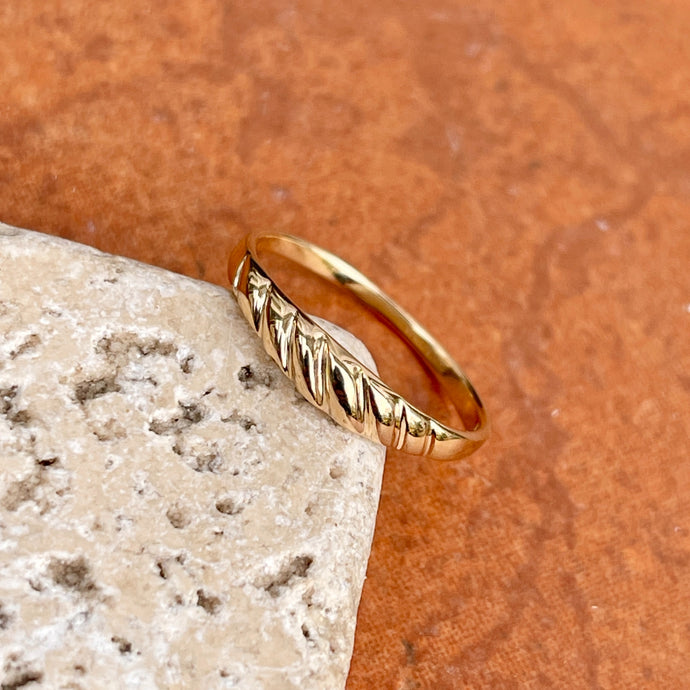 14KT Yellow Gold Polished Thin Croissant Dome Band Ring