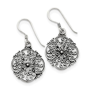 Sterling Silver Antiqued Filigree Dangle Earrings, Sterling Silver Antiqued Filigree Dangle Earrings - Legacy Saint Jewelry