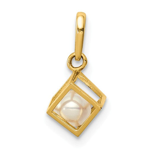 14KT Yellow Gold Square Caged White Freshwater Pearl Pendant, 14KT Yellow Gold Square Caged White Freshwater Pearl Pendant - Legacy Saint Jewelry