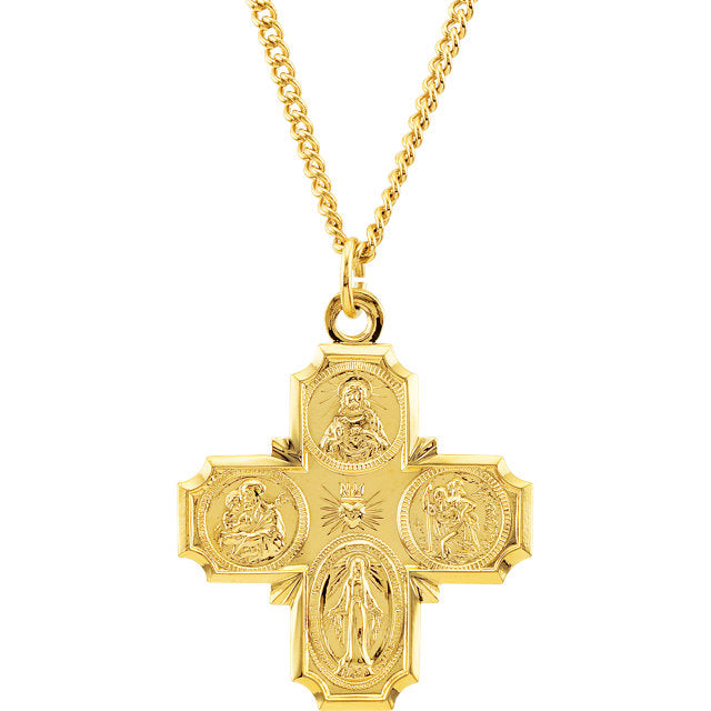 24KT Yellow Gold-Plated Sterling Silver Four-Way Miraculous Medal Cross Necklace 24