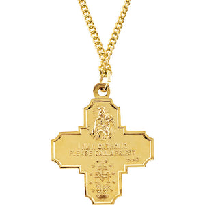 "24KT Yellow Gold-Plated Sterling Silver Four-Way Miraculous Medal Cross Necklace 24"", 24KT Yellow Gold-Plated Sterling Silver Four-Way Miraculous Medal Cross Necklace 24"" - Legacy Saint Jewelry"