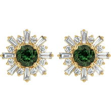 Load image into Gallery viewer, 14KT Yellow Gold Green Tourmaline + Diamond Sunburst Stud Earrings, 14KT Yellow Gold Green Tourmaline + Diamond Sunburst Stud Earrings - Legacy Saint Jewelry