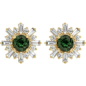 14KT Yellow Gold Green Tourmaline + Diamond Sunburst Stud Earrings, 14KT Yellow Gold Green Tourmaline + Diamond Sunburst Stud Earrings - Legacy Saint Jewelry