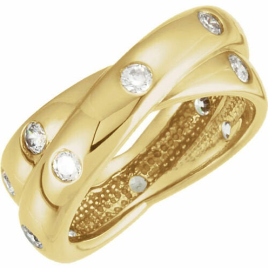 14KT Yellow Gold Gypsy Set Diamond Bypass Ring, 14KT Yellow Gold Gypsy Set Diamond Bypass Ring - Legacy Saint Jewelry