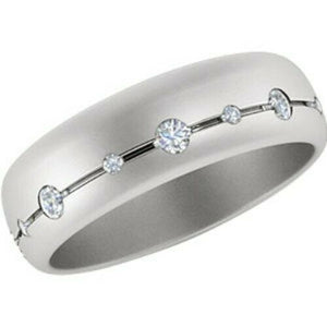 14KT White Gold Gypsy Set Diamond Matte Band Ring, 14KT White Gold Gypsy Set Diamond Matte Band Ring - Legacy Saint Jewelry