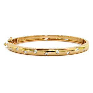 14KT Yellow Gold Gypsy Diamond Thin Bangle Bracelet, 14KT Yellow Gold Gypsy Diamond Thin Bangle Bracelet - Legacy Saint Jewelry