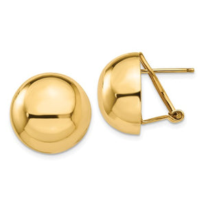 14KT Yellow Gold Half-Ball Omega Back Earrings, 14KT Yellow Gold Half-Ball Omega Back Earrings - Legacy Saint Jewelry