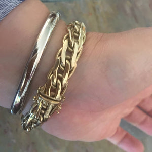 Estate 14KT Yellow Gold Weave Link Shiny Bracelet, Estate 14KT Yellow Gold Weave Link Shiny Bracelet - Legacy Saint Jewelry
