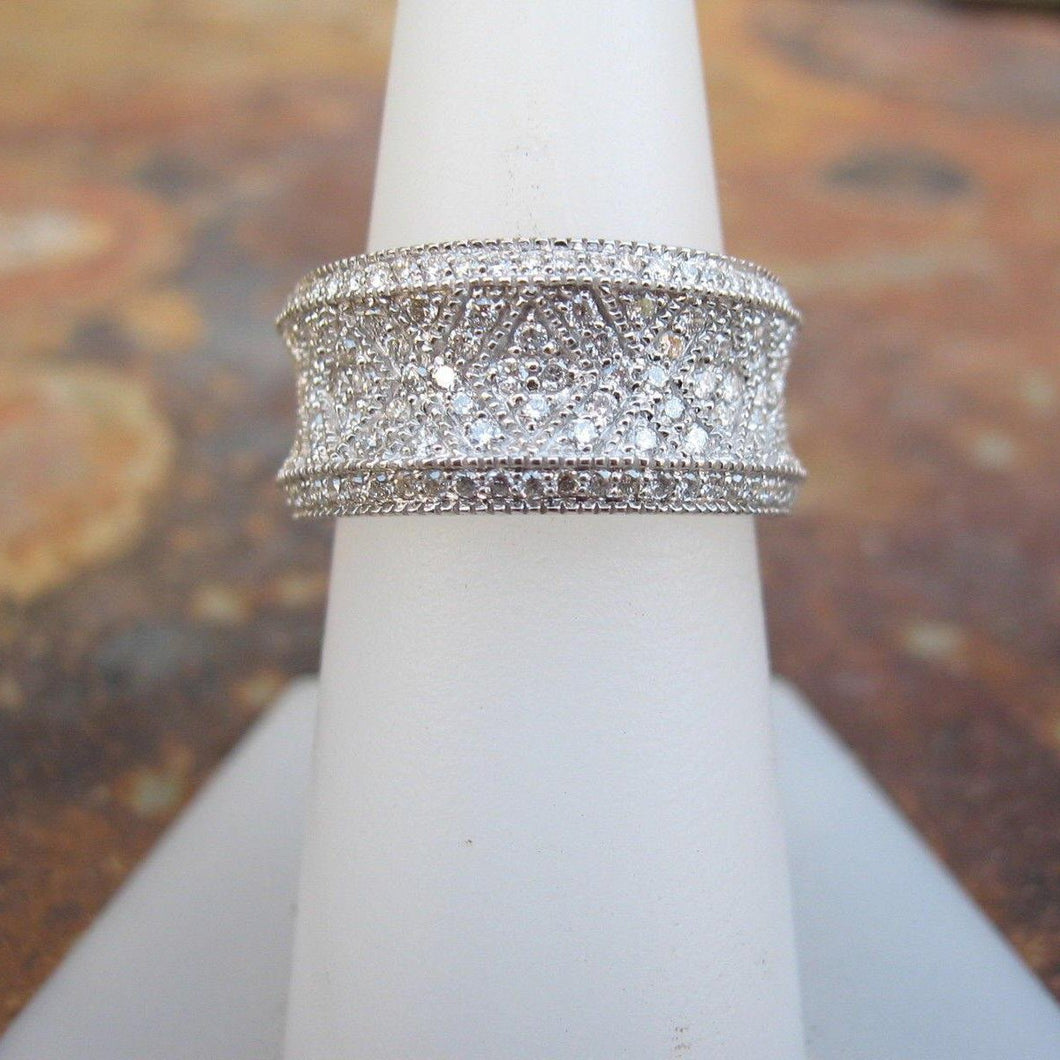 Concave 14KT White Gold + Patterned Pave Diamond Cigar Band Ring, Concave 14KT White Gold + Patterned Pave Diamond Cigar Band Ring - Legacy Saint Jewelry
