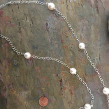 "Load image into Gallery viewer, Sterling Silver Paspaley South Sea Pearls Station Chain Necklace 37"", Sterling Silver Paspaley South Sea Pearls Station Chain Necklace 37"" - Legacy Saint Jewelry"