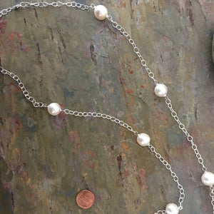 "Sterling Silver Paspaley South Sea Pearls Station Chain Necklace 37"", Sterling Silver Paspaley South Sea Pearls Station Chain Necklace 37"" - Legacy Saint Jewelry"