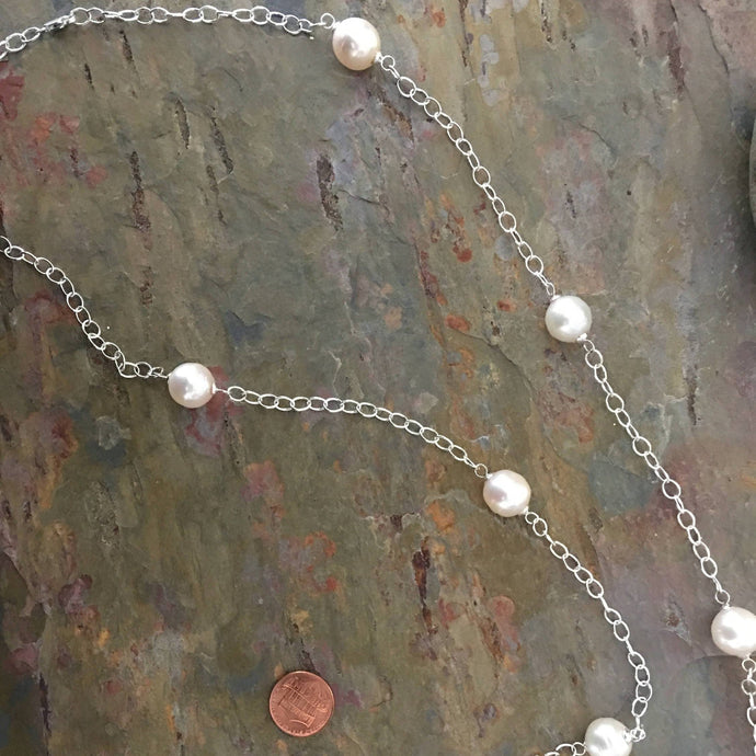 Sterling Silver Paspaley South Sea Pearls Station Chain Necklace 37