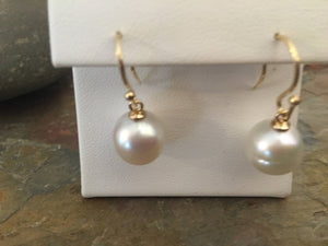 14KT Yellow Gold + 12mm Genuine Paspaley South Sea Pearl Drop Earrings, 14KT Yellow Gold + 12mm Genuine Paspaley South Sea Pearl Drop Earrings - Legacy Saint Jewelry