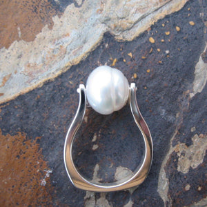 Sterling Silver + Genuine 12mm Paspaley South Sea Pearl Ring - Legacy Saint Jewelry