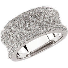 Load image into Gallery viewer, Concave 14KT White Gold + Patterned Pave Diamond Cigar Band Ring, Concave 14KT White Gold + Patterned Pave Diamond Cigar Band Ring - Legacy Saint Jewelry