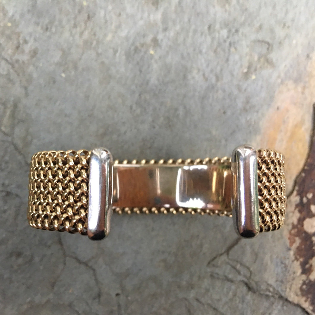 Estate 14KT Yellow Gold + White Gold Weave Mesh Cuff Bracelet - Legacy Saint Jewelry