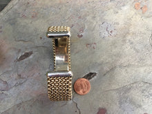 Load image into Gallery viewer, Estate 14KT Yellow Gold + White Gold Weave Mesh Cuff Bracelet - Legacy Saint Jewelry