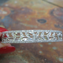 Load image into Gallery viewer, Estate 10KT White Gold + Pave Diamond Filigree Leaves Bangle Bracelet, Estate 10KT White Gold + Pave Diamond Filigree Leaves Bangle Bracelet - Legacy Saint Jewelry