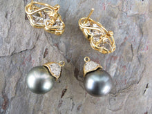 Load image into Gallery viewer, 18KT Yellow Gold Pave Diamond +  Gray Tahitian Pearl Estate Earrings, 18KT Yellow Gold Pave Diamond +  Gray Tahitian Pearl Estate Earrings - Legacy Saint Jewelry