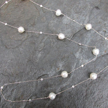 "Load image into Gallery viewer, 14KT White Gold Paspaley South Sea Pearls + CZ's Chain Necklace 43"", 14KT White Gold Paspaley South Sea Pearls + CZ's Chain Necklace 43"" - Legacy Saint Jewelry"