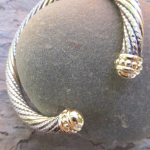 Estate Alwand Vahan 14KT Yellow Gold + Sterling Silver Twist Bangle Bracelet, Estate Alwand Vahan 14KT Yellow Gold + Sterling Silver Twist Bangle Bracelet - Legacy Saint Jewelry