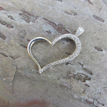 Load image into Gallery viewer, Estate 14KT White Gold + Pave Diamond Pave Heart Pendant Slide, Estate 14KT White Gold + Pave Diamond Pave Heart Pendant Slide - Legacy Saint Jewelry