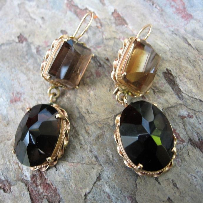 Estate 14KT Yellow Gold Smokey Quartz Dangle Gemstone Earrings, Estate 14KT Yellow Gold Smokey Quartz Dangle Gemstone Earrings - Legacy Saint Jewelry