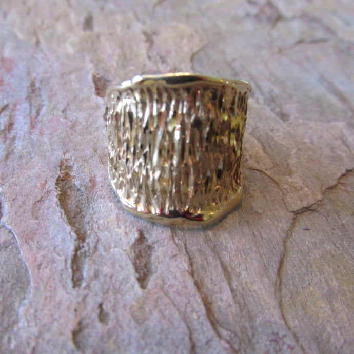 14KT Yellow Gold Wide Artistic Shiny + Ridged 3-D Design Cigar Band Ring - Legacy Saint Jewelry