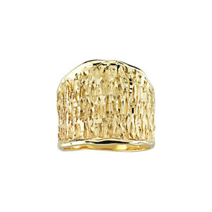 14KT Yellow Gold Wide Artistic Shiny + Ridged 3-D Design Cigar Band Ring, 14KT Yellow Gold Wide Artistic Shiny + Ridged 3-D Design Cigar Band Ring - Legacy Saint Jewelry