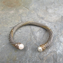 Load image into Gallery viewer, Estate Alwand Vahan 14KT Yellow Gold + Sterling Silver Pearl Twist Bangle Bracelet, Estate Alwand Vahan 14KT Yellow Gold + Sterling Silver Pearl Twist Bangle Bracelet - Legacy Saint Jewelry