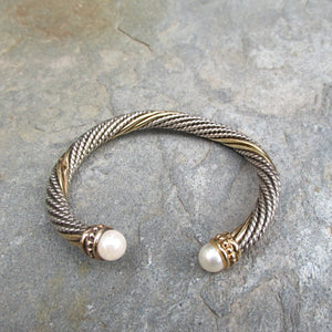 Estate Alwand Vahan 14KT Yellow Gold + Sterling Silver Pearl Twist Bangle Bracelet, Estate Alwand Vahan 14KT Yellow Gold + Sterling Silver Pearl Twist Bangle Bracelet - Legacy Saint Jewelry