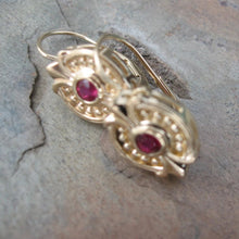 Load image into Gallery viewer, Estate 14KT Yellow Gold + Bezel Set Ruby Dangle Earrings, Estate 14KT Yellow Gold + Bezel Set Ruby Dangle Earrings - Legacy Saint Jewelry