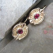 Load image into Gallery viewer, Estate 14KT Yellow Gold + Bezel Set Ruby Dangle Earrings - Legacy Saint Jewelry