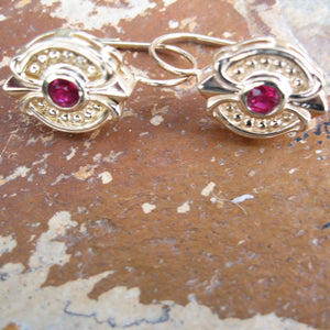 Estate 14KT Yellow Gold + Bezel Set Ruby Dangle Earrings, Estate 14KT Yellow Gold + Bezel Set Ruby Dangle Earrings - Legacy Saint Jewelry