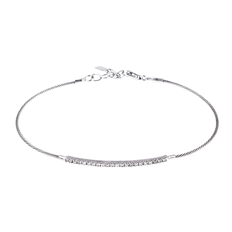 14KT White Gold Mesh Cable Wire Diamond Bangle Bracelet, 14KT White Gold Mesh Cable Wire Diamond Bangle Bracelet - Legacy Saint Jewelry