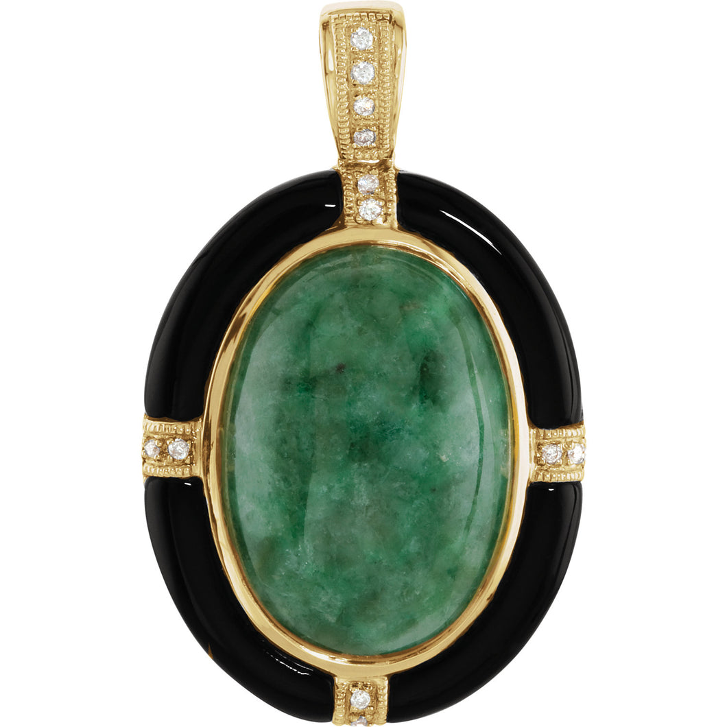 14KT Yellow Gold Russian Jadeite, Onyx + Diamond Pendant, 14KT Yellow Gold Russian Jadeite, Onyx + Diamond Pendant - Legacy Saint Jewelry