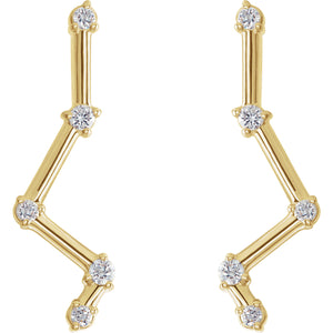 14KT Yellow Gold Diamond Constellation Earrings, 14KT Yellow Gold Diamond Constellation Earrings - Legacy Saint Jewelry