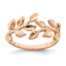 Load image into Gallery viewer, 14KT Rose Gold Polished Leaf Ring, 14KT Rose Gold Polished Leaf Ring - Legacy Saint Jewelry