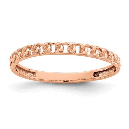 14KT Rose Gold Chain Link Ring, 14KT Rose Gold Chain Link Ring - Legacy Saint Jewelry