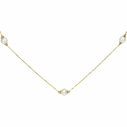 14KT Yellow Gold Paspaley Pearl Station Necklace 37.5