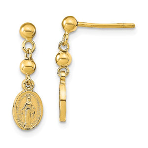 14KT Yellow Gold Miraculous Medal Dangle Post Earrings, 14KT Yellow Gold Miraculous Medal Dangle Post Earrings - Legacy Saint Jewelry