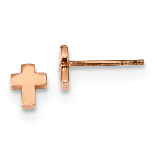 14KT Rose Gold Polished Mini Cross Stud Earrings, 14KT Rose Gold Polished Mini Cross Stud Earrings - Legacy Saint Jewelry