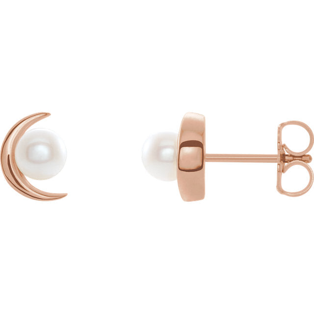 14KT Rose Gold Freshwater Pearl Crescent Moon Stud Earrings, 14KT Rose Gold Freshwater Pearl Crescent Moon Stud Earrings - Legacy Saint Jewelry