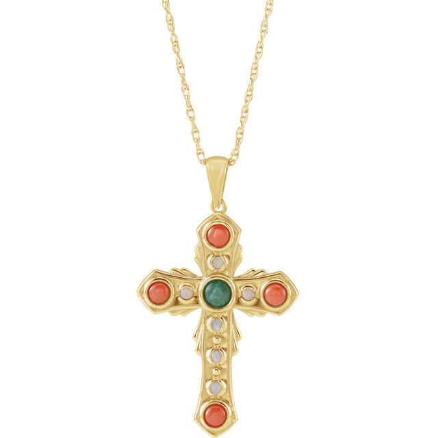 14KT Yellow Gold Multi-Gemstone Vintage-Inspired Cross Necklace 18